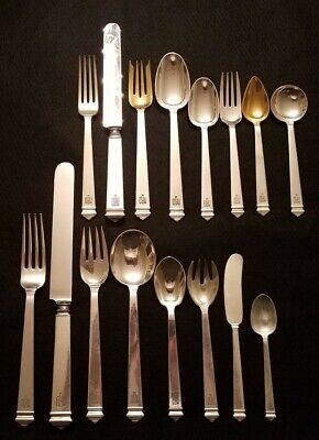 Tiffany & Co. Hampton Flatware Set Sterling Silver Art Deco 192 Pcs. Serves 24