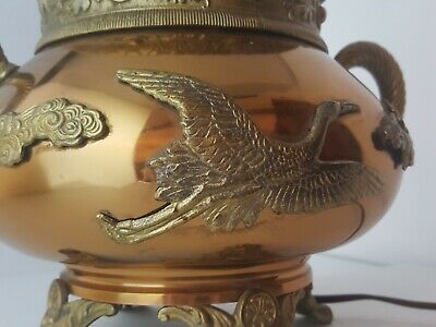 Antique Asthetic Copper Brass Oil Lamp Converted Arts & Crafts Japonesque