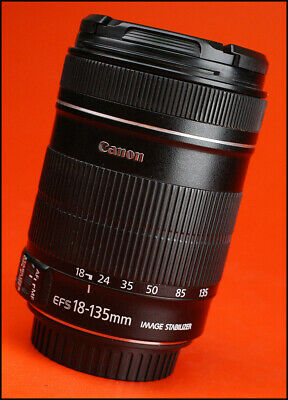Canon EF-S 18-135mm F3.5-5.6 Image Stabilizer Zoom Lens + Front & Rear Lens Caps