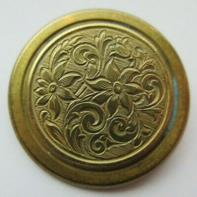 Outstanding LARGE Antique~ Vtg Brass Metal Picture BUTTON Etched Flowers (N)