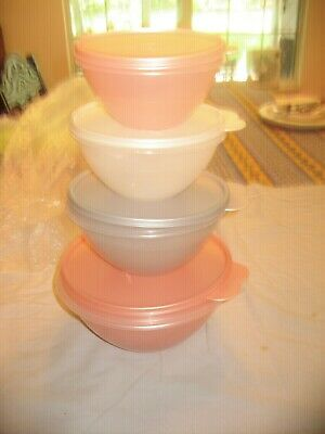 Tupperware 4 Piece Set Of Wonderlier Bowls Pearly Pastels Mip Free Ship