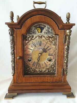 Warmink Mantel Clock Dutch Vintage Shelf Moon Dial Double Bell Strike