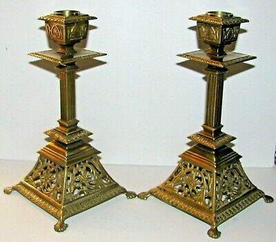 Pr Antique Brass Aesthetic Etruscan Style Candle Stick Holders / Removable Cups