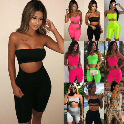 6294ff931dd9 Womens Ladies 2Pcs Crop Top Shorts Jumpsuit Summer Sports Beach Sexy Co Ord  Sets