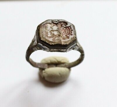 Authentic Medieval Crusaders Era Enameled Bronze Heraldic Seal Ring -Wearable