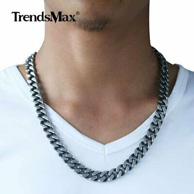 12mm Men's Chain Necklace Gunmetal Cut Curb Cuban Link Stainless Steel Jewelry