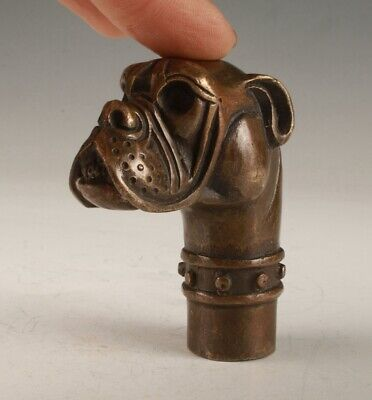 Chinese Bronze Hand Casting Dog Walking Stick Head Practical Collection Handle