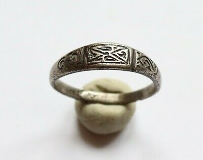 AUTHENTIC MEDIEVAL VIKING SILVER RING WITH RUNIC ORNAMENT 8th - 10th Century