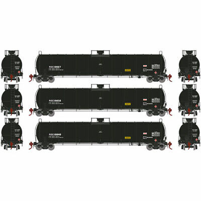 Athearn G25493 HO ROCX 33,900-Gallon Early LPG Tank Car (Pack of 3)