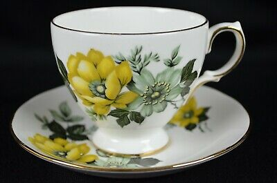 Queen Anne Bone China Yellow Floral Tea Cup and Saucer, Made in England