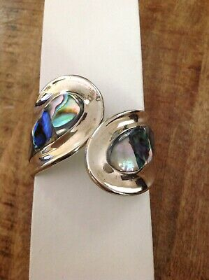 Vintage Mexican Alpaca Silver/Abalone  Hinged Cuff