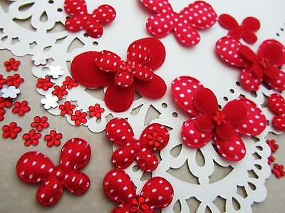 60+50 Felt/Satin Polka Dot Butterfly Mix+Rhinestone Flower Applique/Bow H308-Red