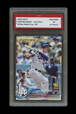 CODY BELLINGER Topps Future Stars #1 GOLD ROOKIE Cup Card 1ST GRADED 10 DODGERS