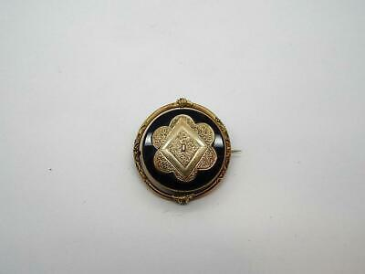 Antique Georgian Victorian Mourning Rotating Onyx Pin Brooch 14K Gold Filled