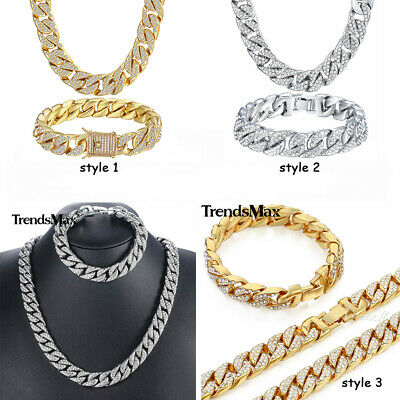 Mens Curb Cuban Chain Crystal Necklace Bracelet Set Y Gold Filled Miami Jewelry