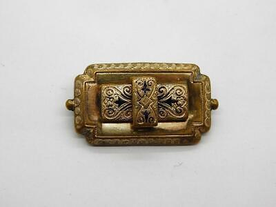 Antique Georgian Victorian Mourning Pendant Pin Brooch 14K Gold Filled 37 x 20mm