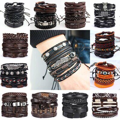 6pcs/set Multilayer Leather Bracelet Handmade Wristband Bangle Father's Day Gift