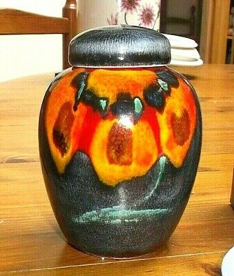 """Attractive Poole Pottery Gemstones 4.5"""" Ginger Jar With Lid Rare"""
