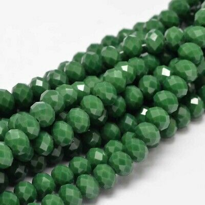 1 strand Faceted Rondelle / Abacus Opaque Glass Beads Strand, Red, 8x6mm