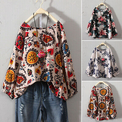 Plus Size Womens Boho Floral Gypsy Loose Blouse Baggy Tops Cotton Linen T Shirts