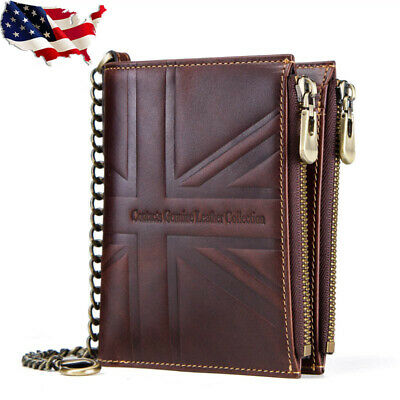 RFID Crazy Horse Genuine Leather Retro Mens Chain Wallet Card Union Flag Bifold