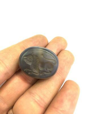 Antique Natural Agate Intaglio Engraved Lion Stamp Seal Bead Pendant Near Easter