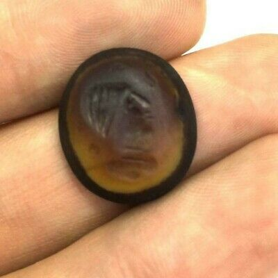 Antique Natural Agate Intaglio Engraved Stamp Seal Bead Pendant Near Eastern