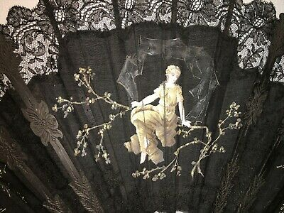 Victorian Hand Painted Chantilly Lace Fan Carved Sticks Beautiful Woman +Cherubs