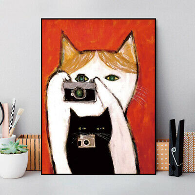 Abstract canvas painting cartoon cat wall art poster home decor picture unframed