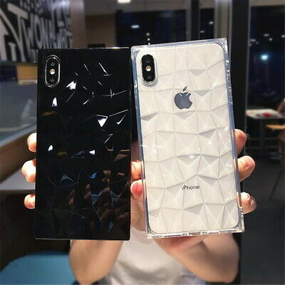 Slim Square Diamond Pattern Soft Silicone Case Cover For iPhone XS Max XR 8 7 6s
