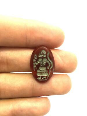 Antique Natural Agate Intaglio Engraved Rabbit Hunter Stamp Seal Bead Pendant