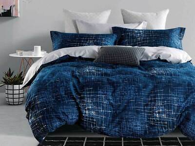Modern Milton Navy blue Quilt Cover Set in Queen / King size