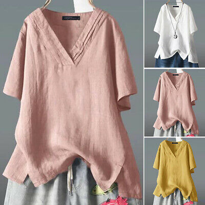 ZANZEA Women Casual V Neck Solid Loose Pure Cotton Tops T-Shirt Blouse Plus Size