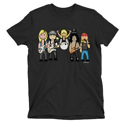 Kids VIPwees T-Shirt Axe The Roses 80s Music Boys Girls Rock Band Caricature Tee