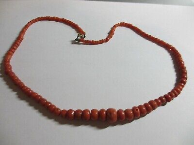 Rare Antique Old Chinese/Victorian Natural Red Coral Bead Necklace-Xfine&Old! Nr
