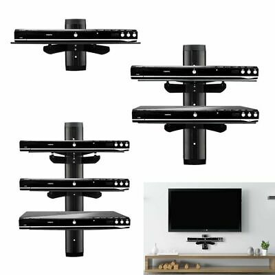 Tempered Black Glass Floating Shelf Wall Mount Consoles/Cable Boxes/DVD players