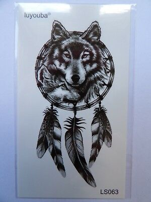 WOLF AND DREAMCATCHER TEMPORARY TATTOO (BRAND NEW) 110mm X 60mm LS063