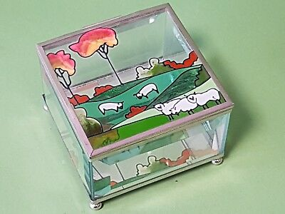 Hand Painted Glass Trinket Jewellery Box Oranment Mirrored Base *10 x 10 x 7 cm*