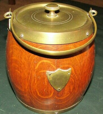 Wonderful Antique Wood Barrel Style Container With Metal Handle And Lid-Nice !!