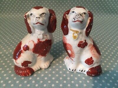 "Pair of antique Staffordshire miniature spaniel dog flat backs. 3"". c1880."