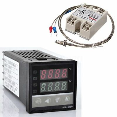 Digital 220V PID REX-C100 Temperature Controller + max.40A SSR + K Thermocouple