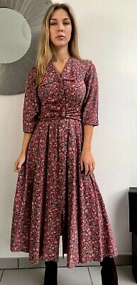 Vintage Droopy & Brown Floral Tea Dress Goodwood Edwardian Victorian Pockets S