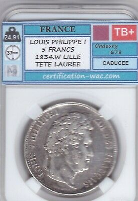 5 Francs Louis Philippe I 1834.W Lille