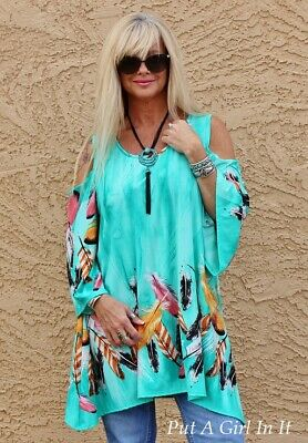 Plus Size Mint Green Feather Cold Shoulder Flare Tunic Silky Shirt Usa 1X 2X 3X