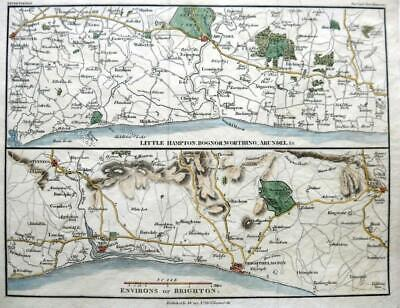 ENVIRONS OF BRIGHTON BY JOHN CARY ARUNDEL CHICHESTER GENUINE ANTIQUE MAP  c1821