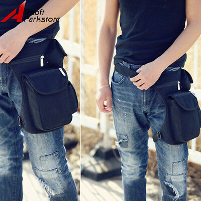 Tactical Men's Canvas Drop Leg Thigh Bag Waist Fanny Pack Belt Pouch Bag Outdoor