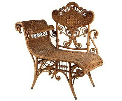 Antique Victorian Heywood Wakefield Photographers Wicker Conversation Chair