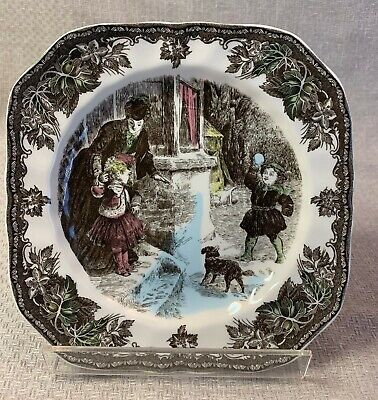 """Johnson Brothers Friendly Village Christmas 7-1/2"""" Square Salad Plate Snowball"""