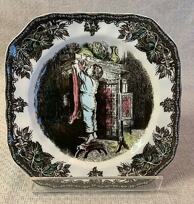"""Johnson Brothers Friendly Village Christmas 7-1/2"""" Square Salad Plate Stocking"""