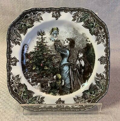 """Johnson Brothers Friendly Village Christmas 7-1/2"""" Square Salad Plate Decorating"""